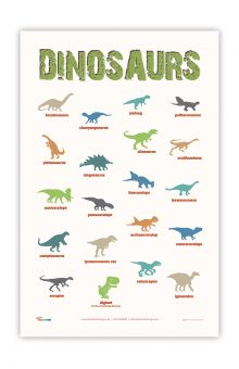 dinosaur educational tea towel