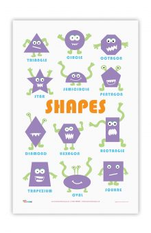 shapes educational tea towel