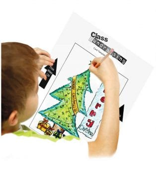 Child drawing on christmas card template