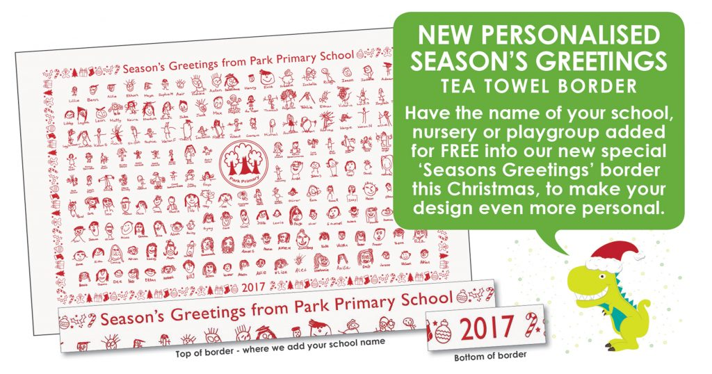 Season's Greetings Tea Towel Border