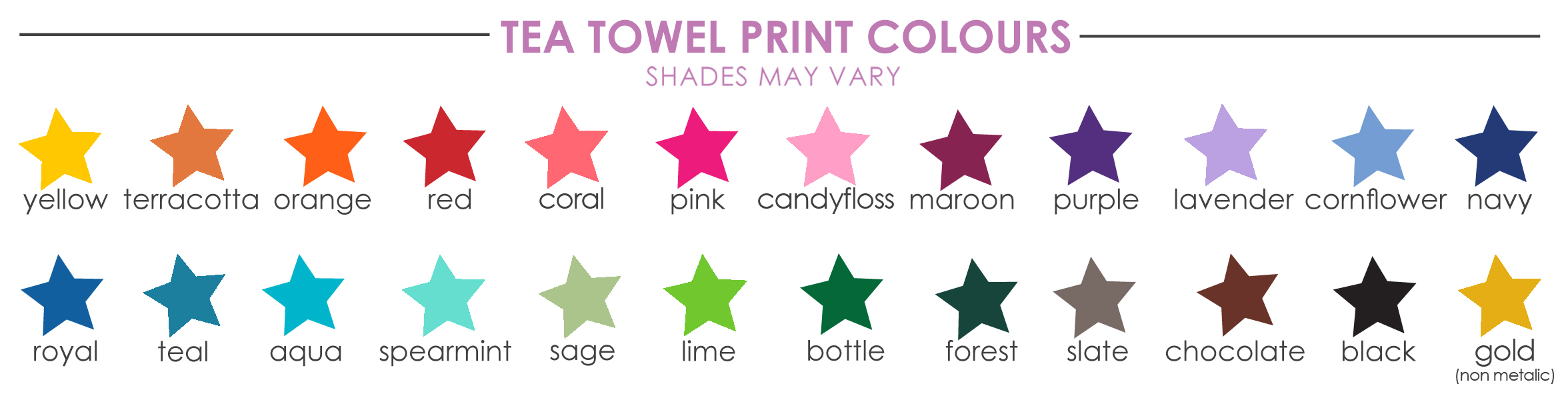 Tea Towel Print Colours