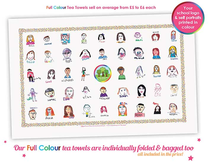 full colour fundraising school tea towels