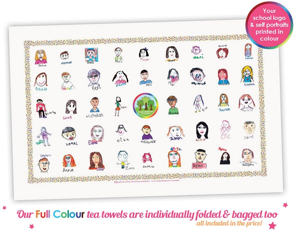 school fundraising full colour tea towels