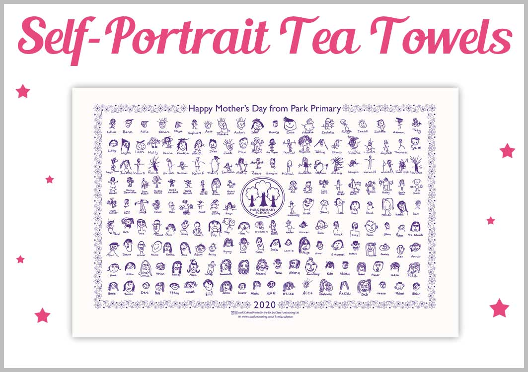 Mothers Day Self Portrait Tea Towels